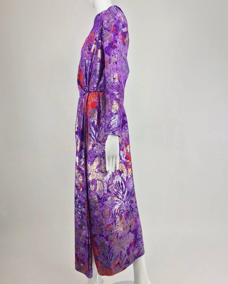 Yves Saint Laurent plunge back wrap metallic brocade evening dress 1980s 3
