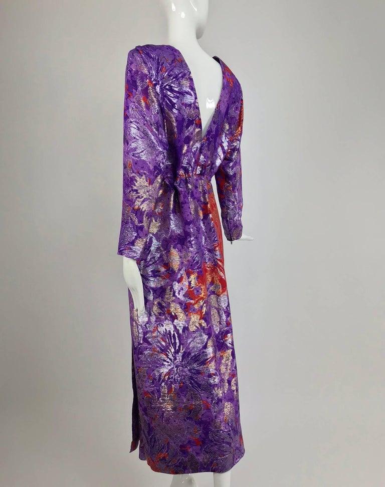 Yves Saint Laurent plunge back wrap metallic brocade evening dress 1980s 4