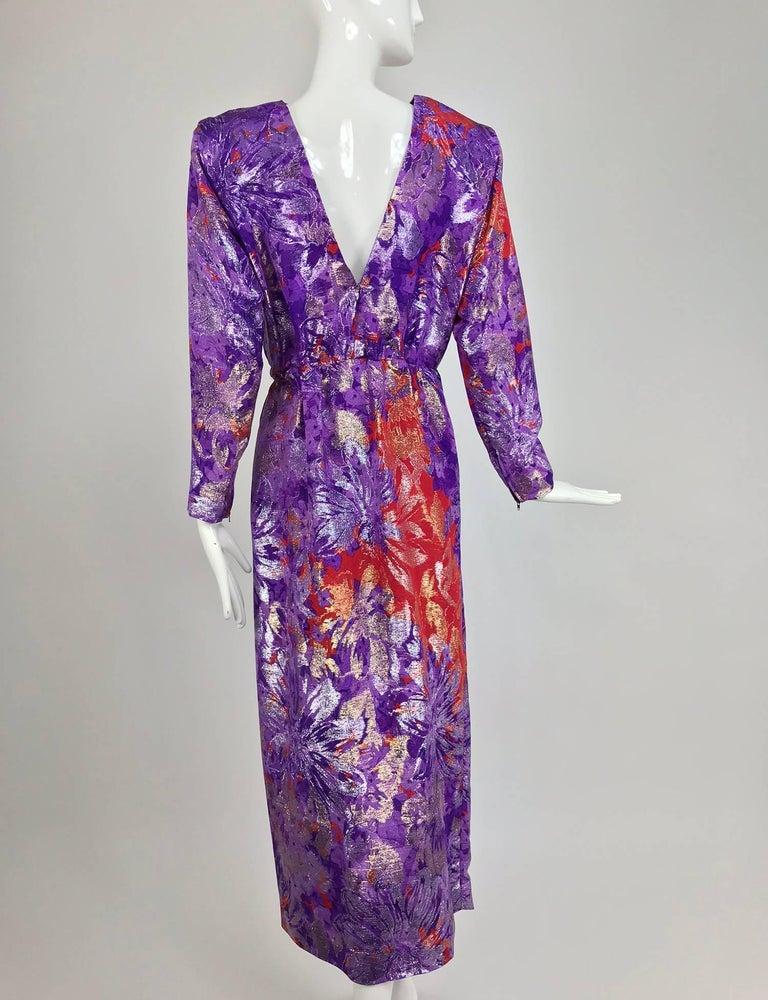 Yves Saint Laurent plunge back wrap metallic brocade evening dress 1980s 5