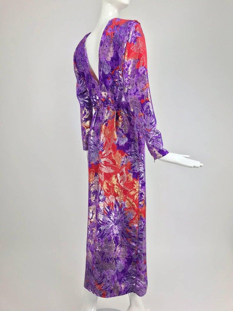 Yves Saint Laurent plunge back wrap metallic brocade evening dress 1980s 6