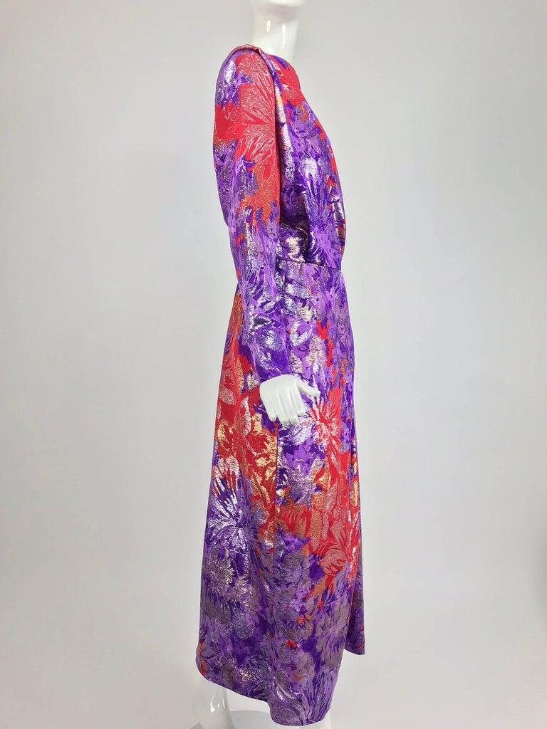Yves Saint Laurent plunge back wrap metallic brocade evening dress 1980s 7
