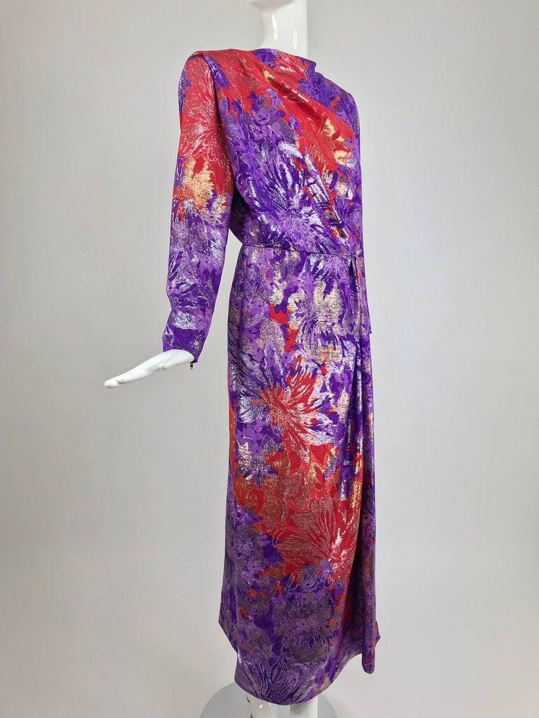 Yves Saint Laurent plunge back wrap metallic brocade evening dress 1980s 8
