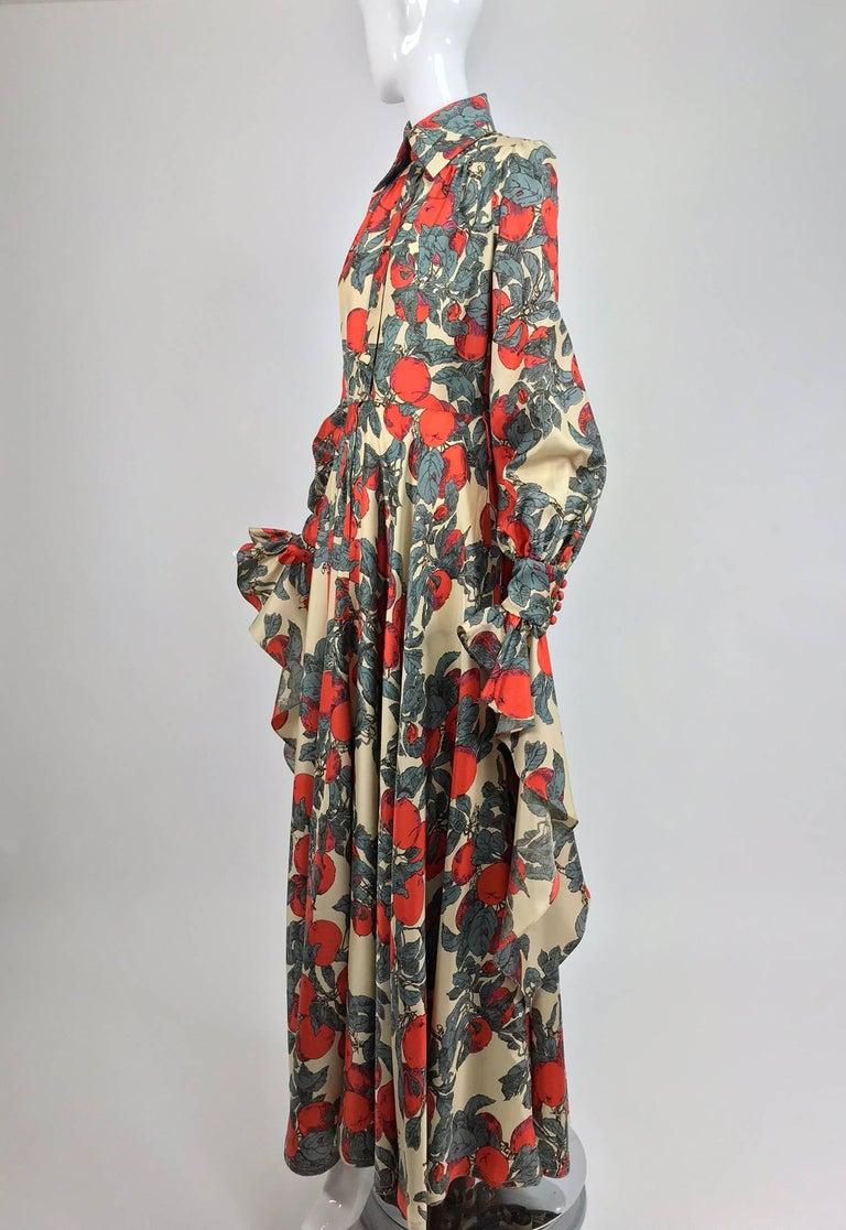 Brown John Bates iconic apple print dress for Jean Varon  1970s For Sale