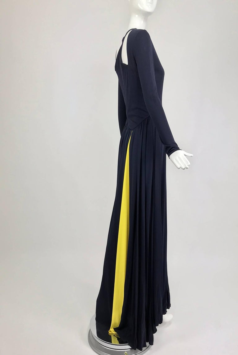 Black Carolina Herrera sample navy blue open back yellow matte jersey evening dress  For Sale