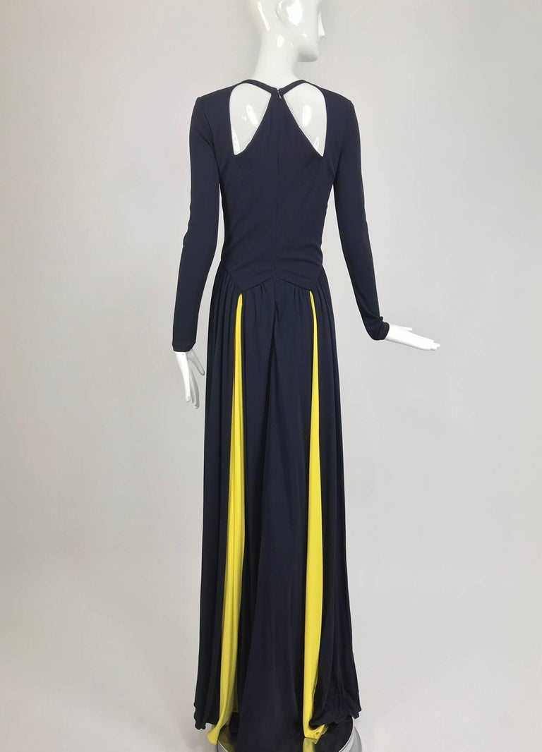 Women's Carolina Herrera sample navy blue open back yellow matte jersey evening dress  For Sale