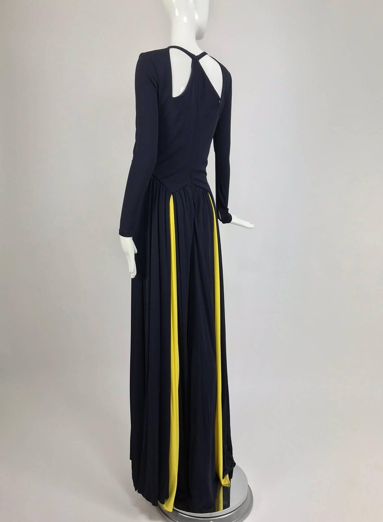 Carolina Herrera sample navy blue open back yellow matte jersey ...