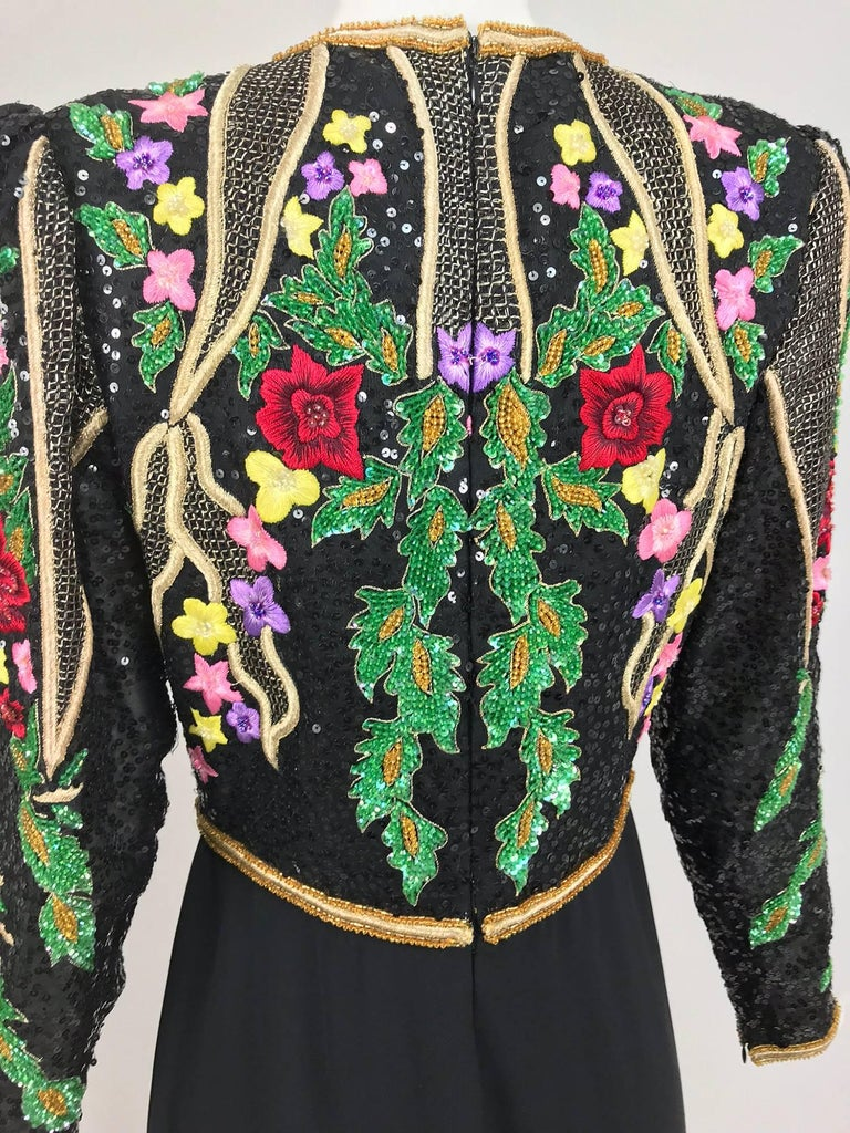 Richilene beaded and embroidered bodice evening dress...The embroidery and beading on this dress is pretty spectacular, the colours are amazing!  Jewel neckline bodice has long sleeves, the shoulders are slightly peaked, the facings and waist band