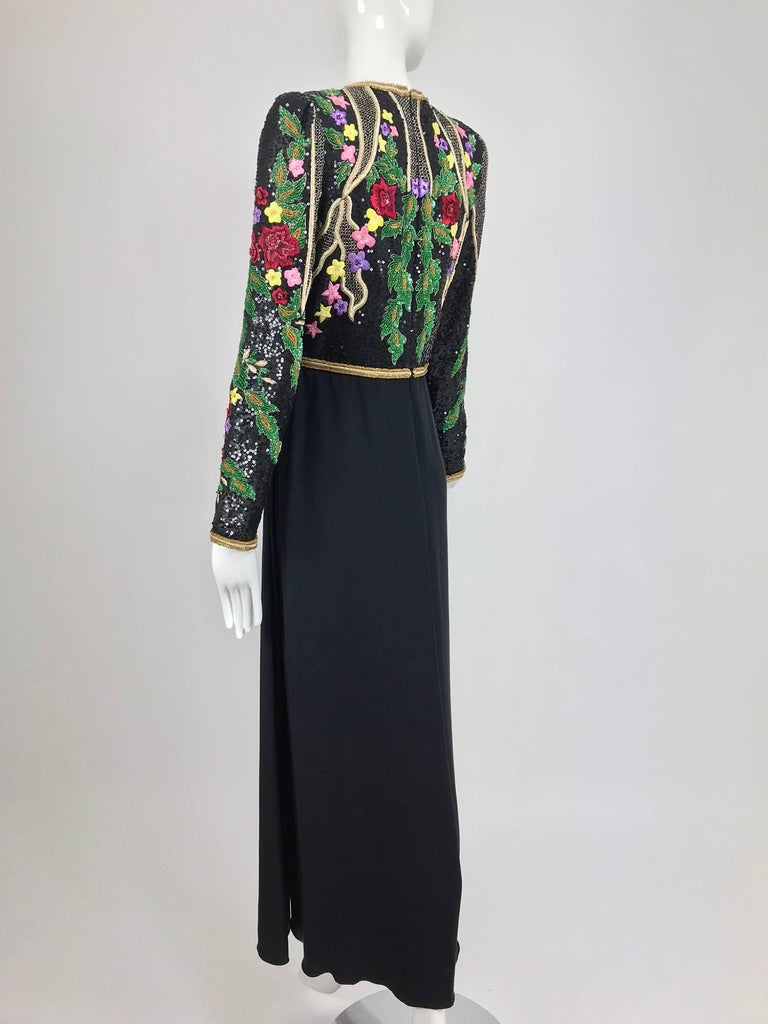 Black Richilene beaded and embroidered bodice sarong skirt evening dress For Sale