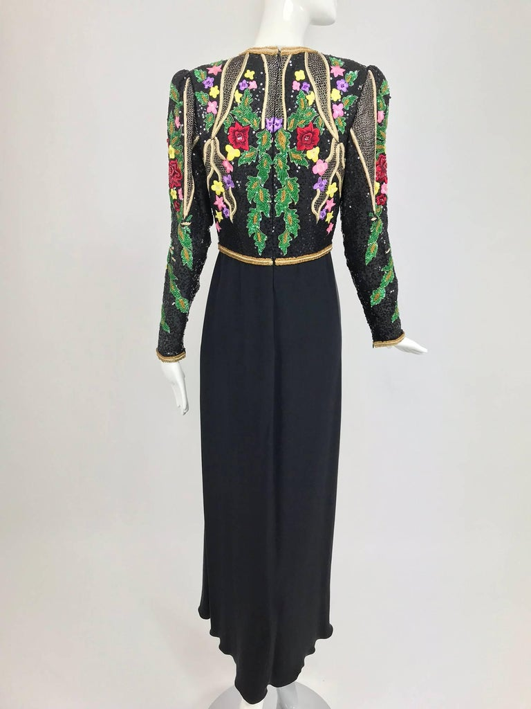 Richilene beaded and embroidered bodice sarong skirt evening dress In Excellent Condition For Sale In West Palm Beach, FL