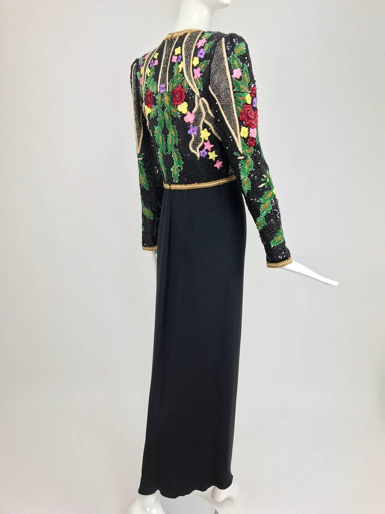 Women's Richilene beaded and embroidered bodice sarong skirt evening dress For Sale