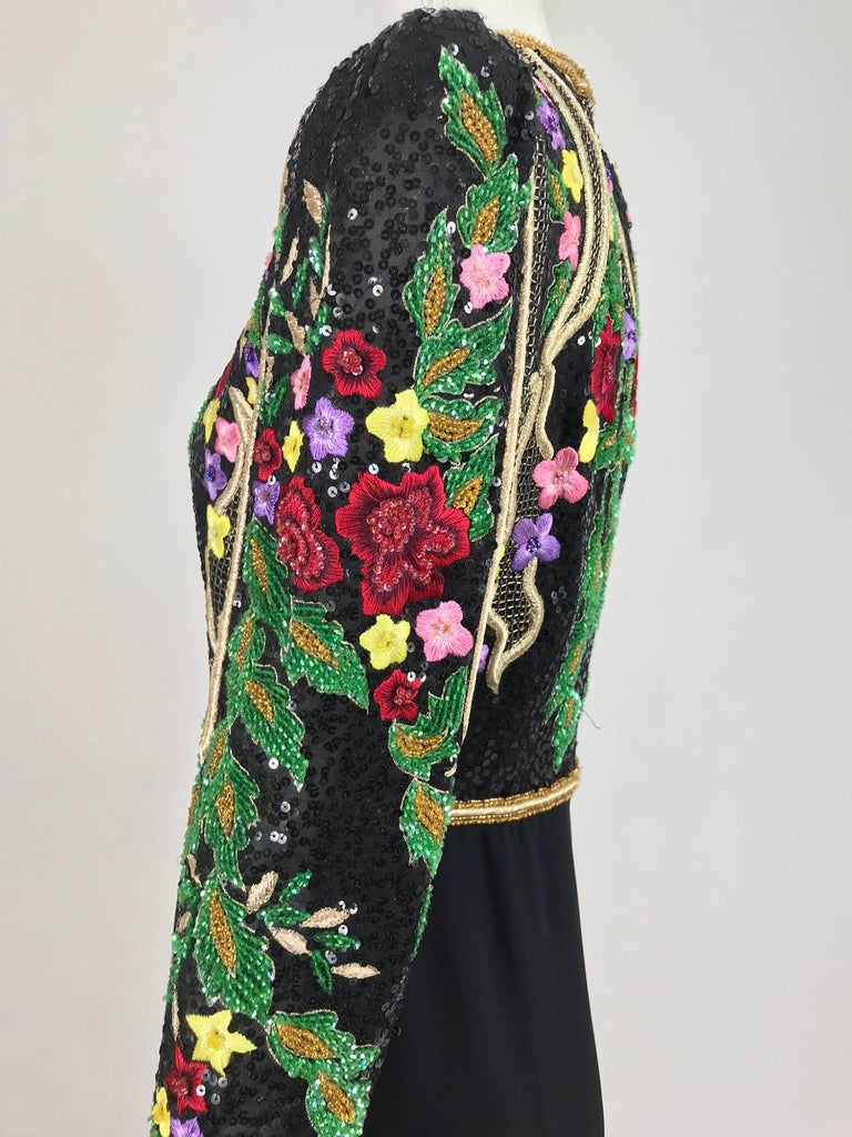 Richilene beaded and embroidered bodice sarong skirt evening dress For Sale 4