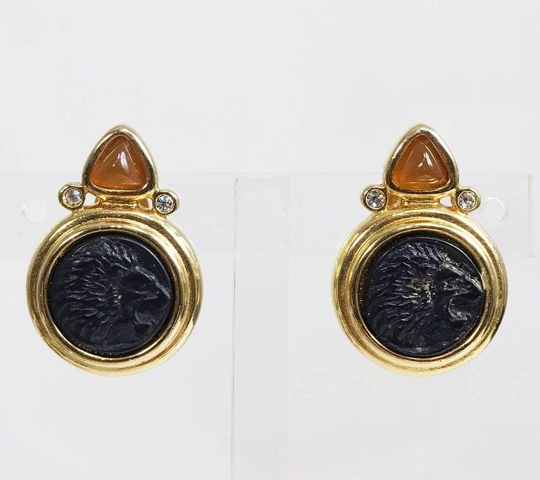 Jesara lion head intaglio earrings 1980s 4