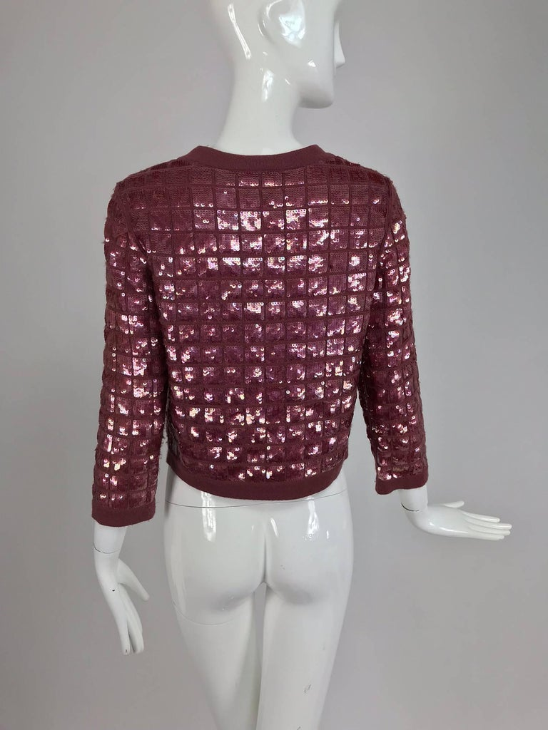 Chanel Raspberry Sequined Cashmere Sweater, 2008 In Excellent Condition For Sale In West Palm Beach, FL
