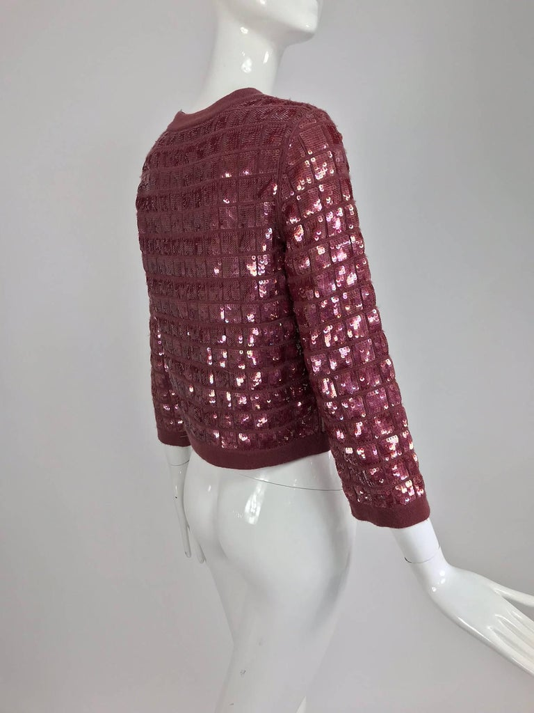 Women's Chanel Raspberry Sequined Cashmere Sweater, 2008 For Sale