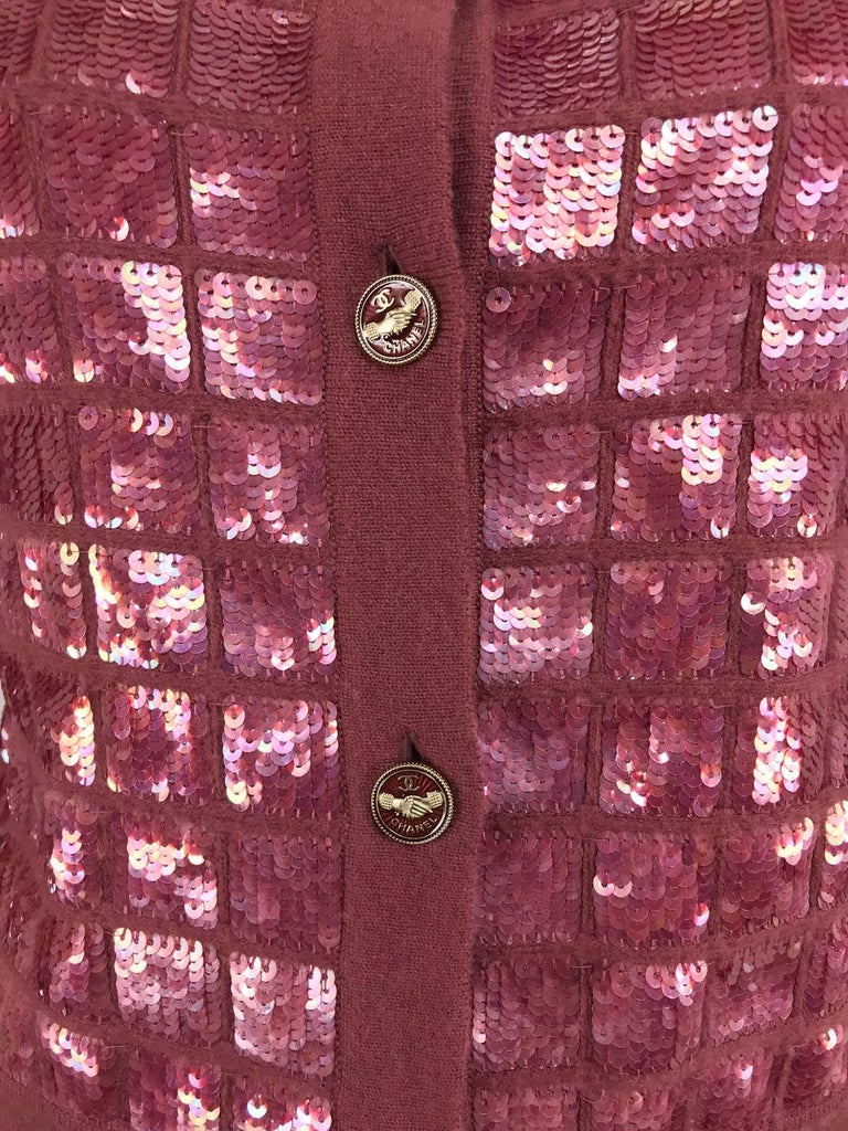 Chanel Raspberry Sequined Cashmere Sweater, 2008 For Sale 1