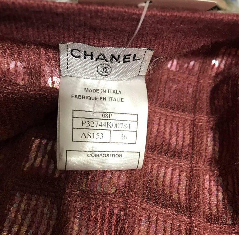 Chanel Raspberry Sequined Cashmere Sweater, 2008 For Sale 3
