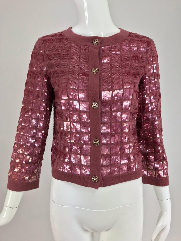 Chanel Raspberry Sequined Cashmere Sweater, 2008 For Sale 4