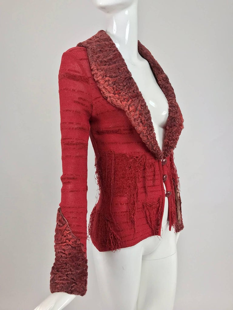 Christian LaCroix Brick Red Cardigan Sweater with Dyed Lamb Fur ...