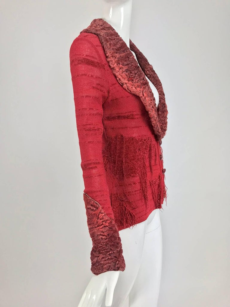 Christian LaCroix Brick Red Cardigan Sweater with Dyed Lamb Fur Trim  In Excellent Condition For Sale In West Palm Beach, FL
