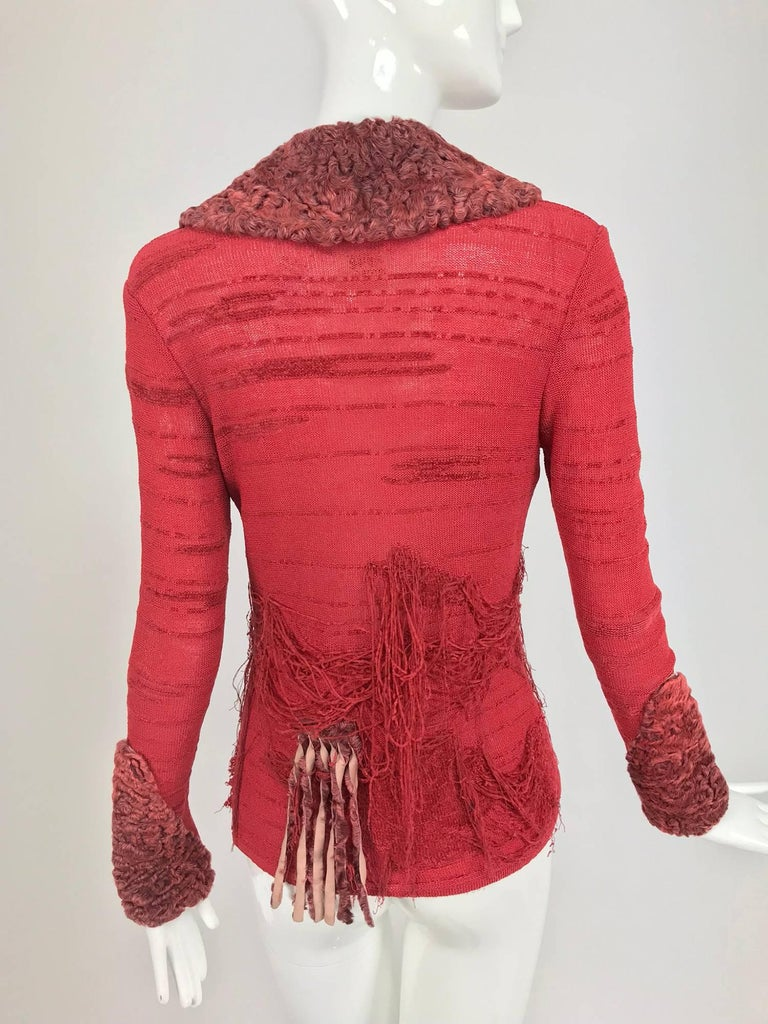 Women's Christian LaCroix Brick Red Cardigan Sweater with Dyed Lamb Fur Trim  For Sale