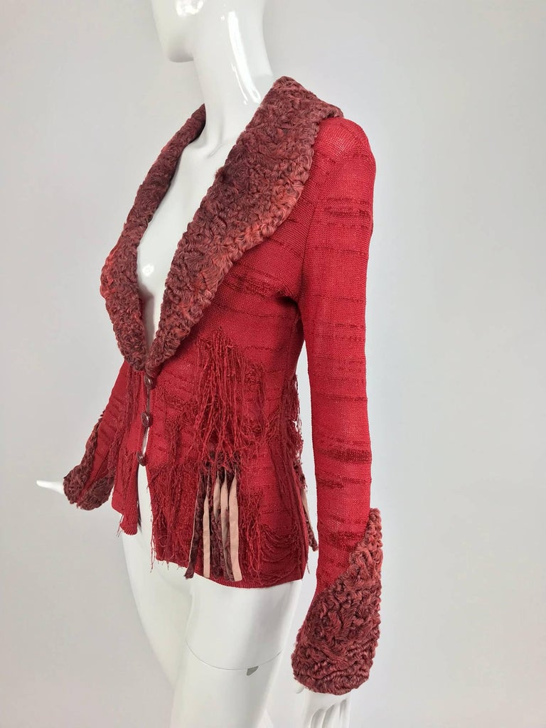 Christian LaCroix Brick Red Cardigan Sweater with Dyed Lamb Fur Trim  For Sale 2