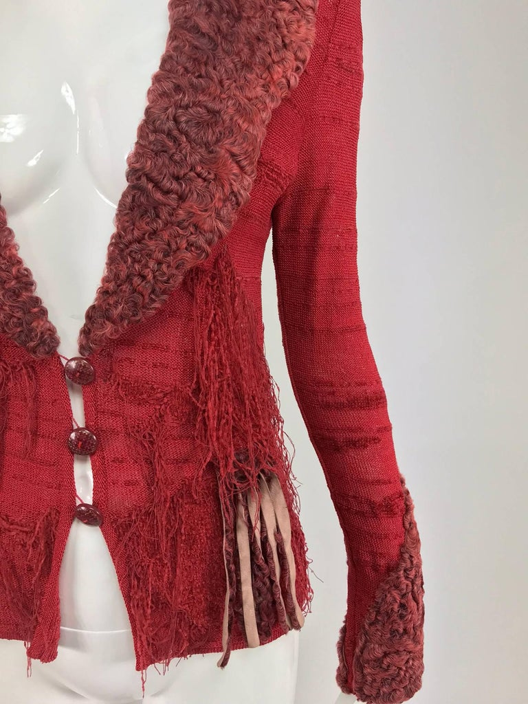 Christian LaCroix Brick Red Cardigan Sweater with Dyed Lamb Fur Trim  For Sale 3