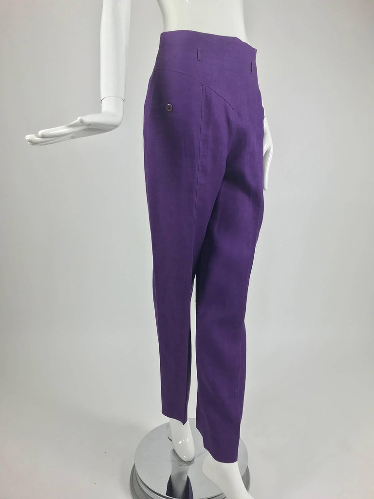 Gucci purple linen high waist trousers from the 1980s...High waist trousers have belt loops at the top (for a narrow belt)...Detailed seaming...Angled button pockets at the hip fronts...Straight wide legs...gorgeous colour...Marked size 44, fits a