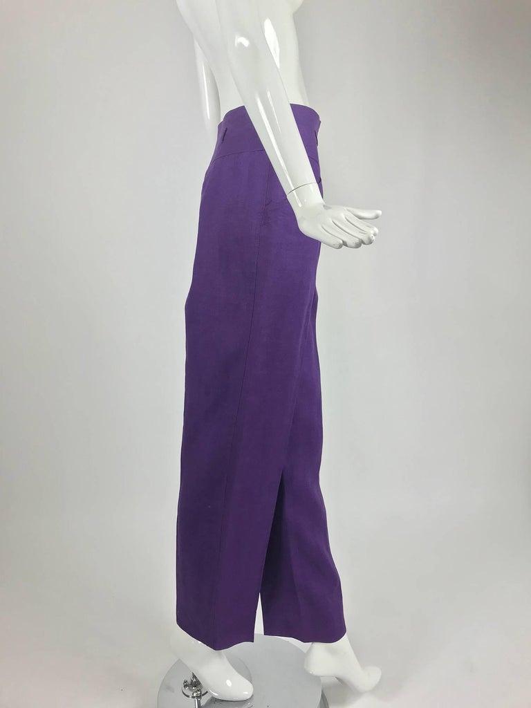 Purple Gucci purple linen high waist trousers 1980s For Sale