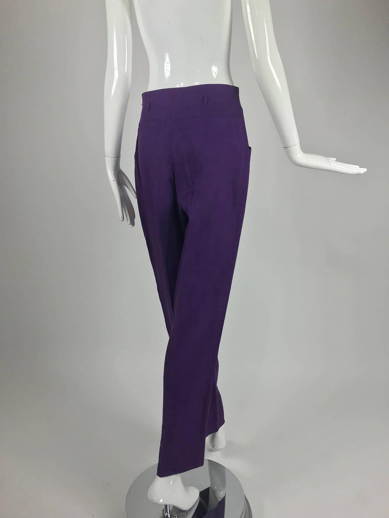 Gucci purple linen high waist trousers 1980s In Excellent Condition For Sale In West Palm Beach, FL
