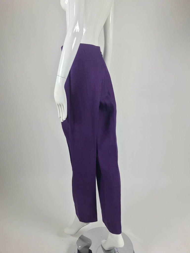 Women's Gucci purple linen high waist trousers 1980s For Sale