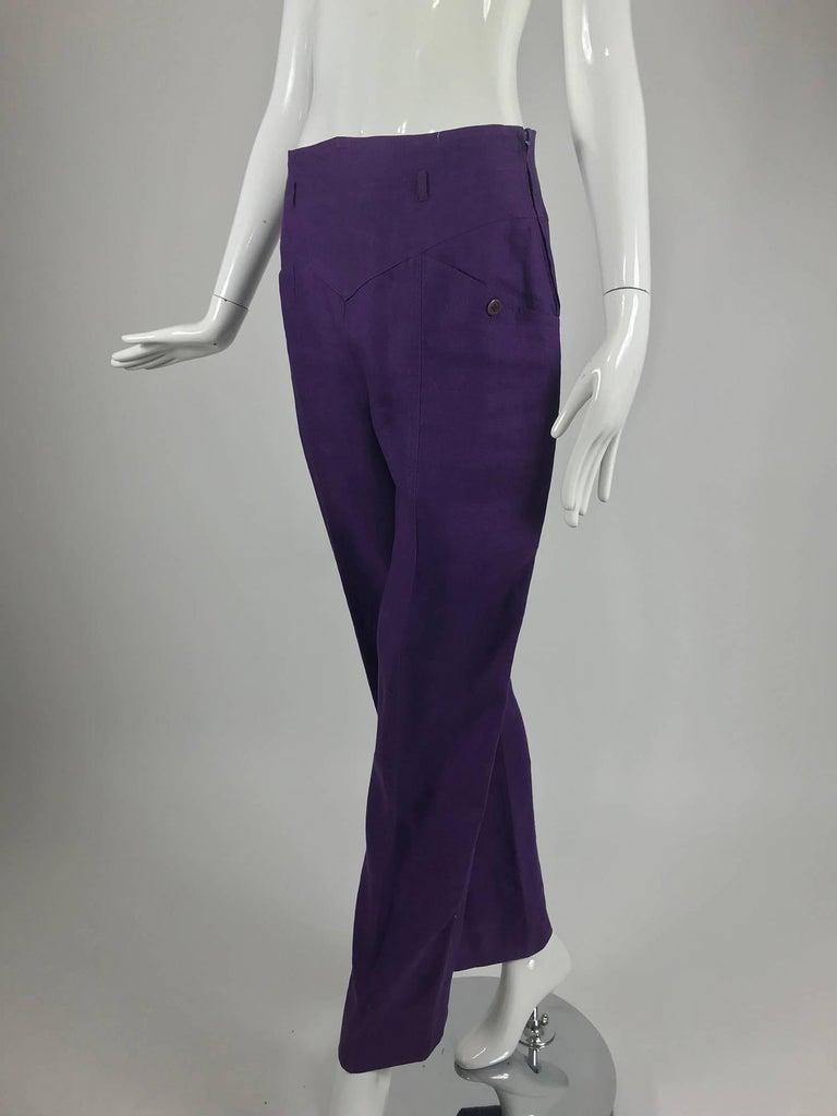 Gucci purple linen high waist trousers 1980s For Sale 1