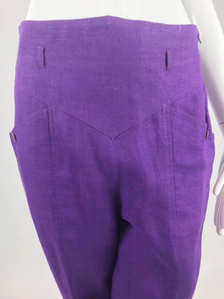 Gucci purple linen high waist trousers 1980s For Sale 2