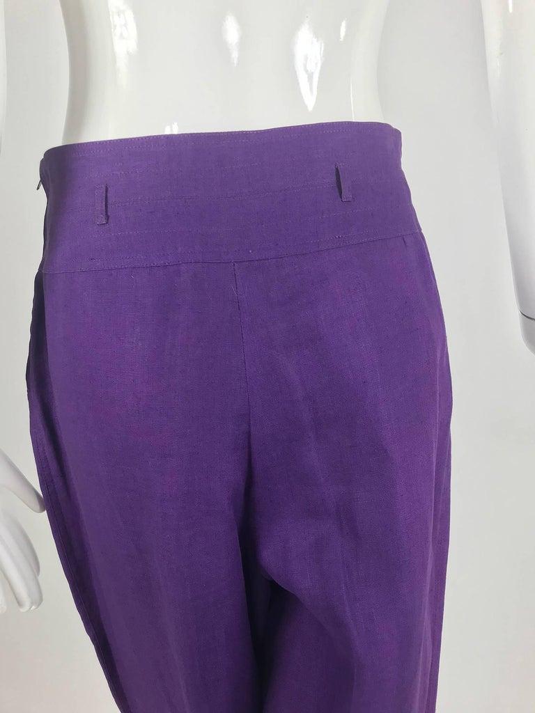 Gucci purple linen high waist trousers 1980s For Sale 3