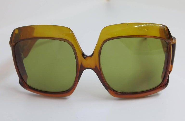 Brown Christian Dior Dark Amber Big Square sunglasses, 1970s For Sale