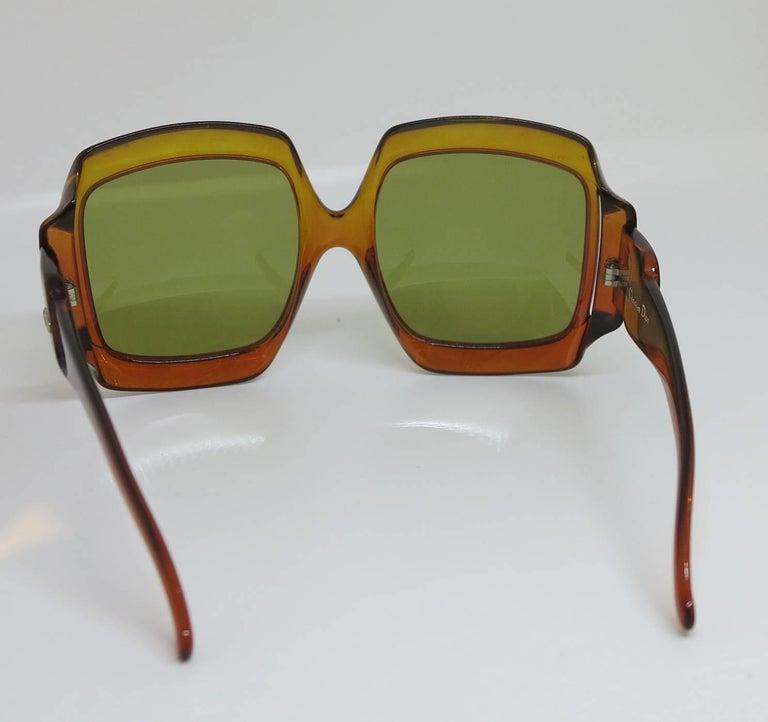 Women's Christian Dior Dark Amber Big Square sunglasses, 1970s For Sale