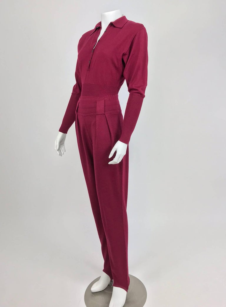 Red Azedine Alaia 1980s Burgundy Wool Knit Body Suit and Stirrup Trousers  For Sale