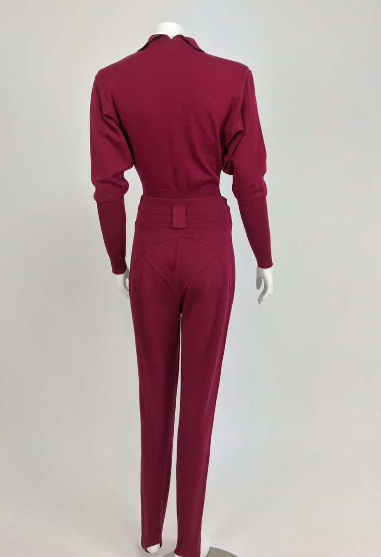 Women's Azedine Alaia 1980s Burgundy Wool Knit Body Suit and Stirrup Trousers  For Sale