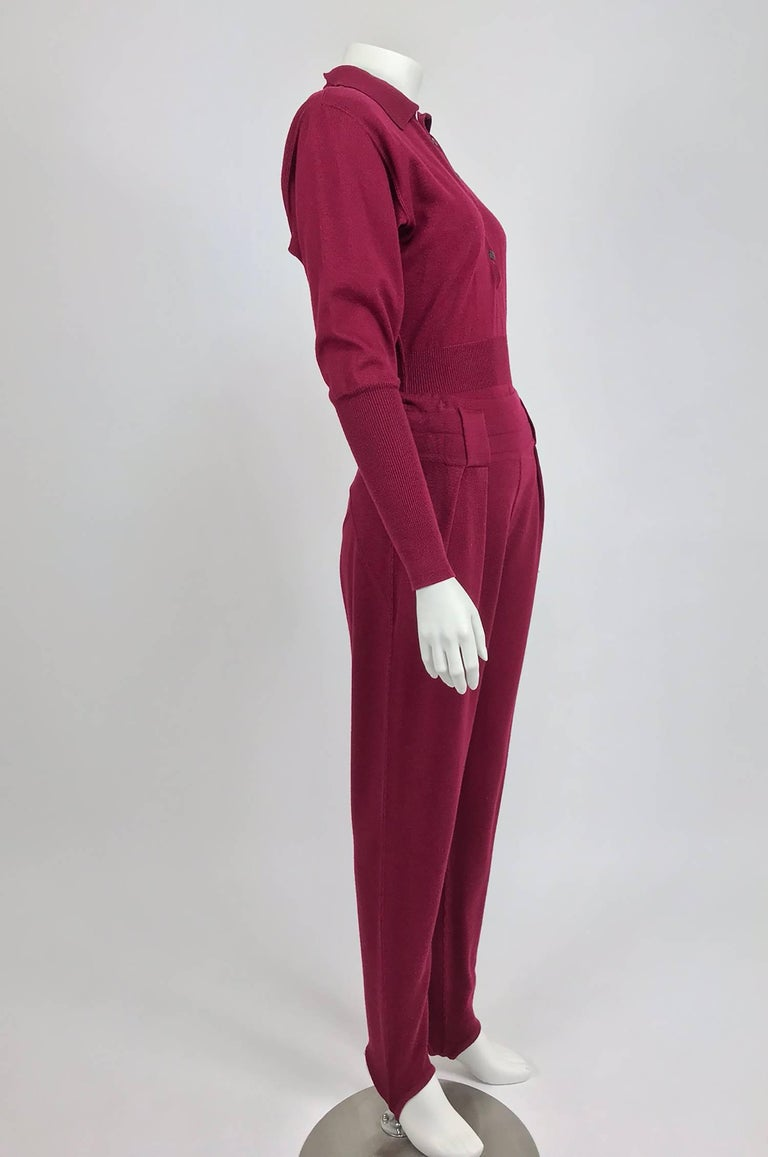 Azedine Alaia 1980s Burgundy Wool Knit Body Suit and Stirrup Trousers  For Sale 1