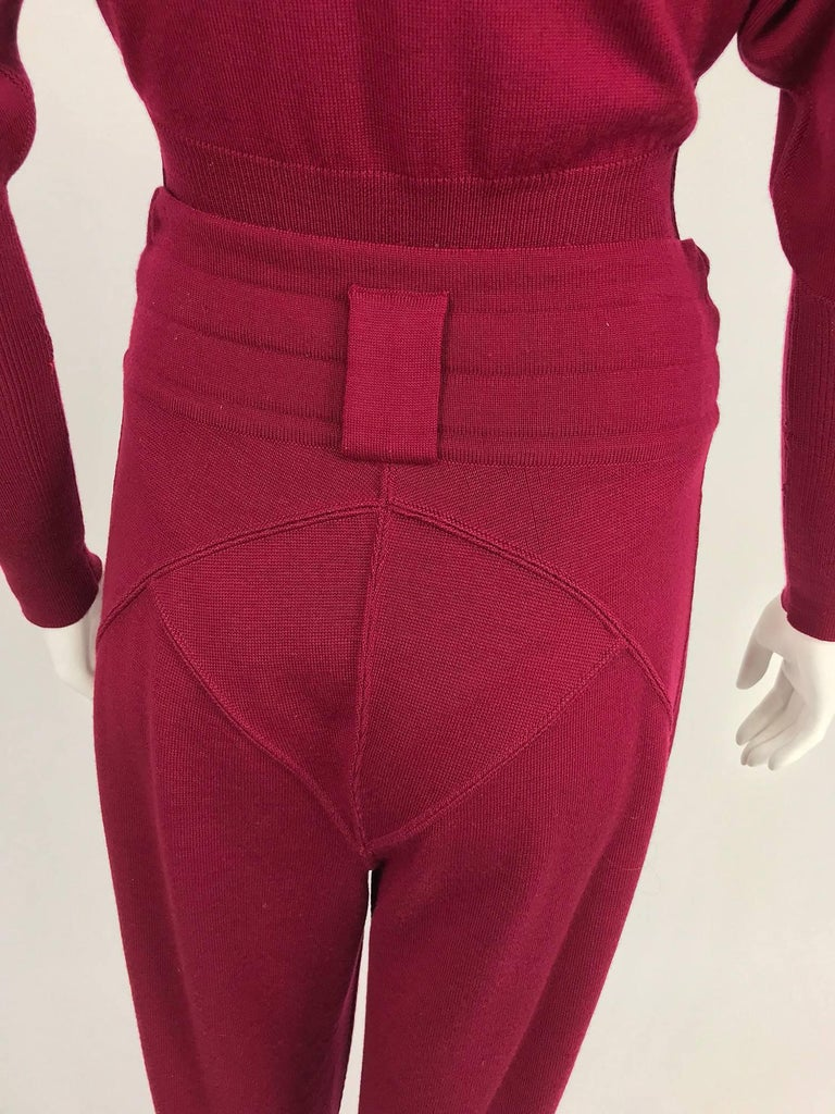 Azedine Alaia 1980s Burgundy Wool Knit Body Suit and Stirrup Trousers  For Sale 2