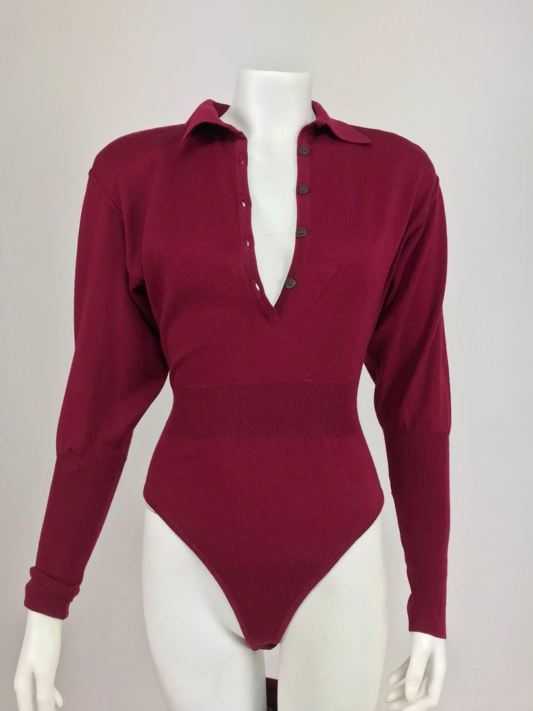 Azedine Alaia 1980s Burgundy Wool Knit Body Suit and Stirrup Trousers  For Sale 3