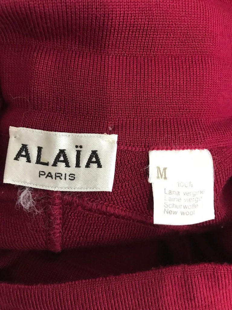 Azedine Alaia 1980s Burgundy Wool Knit Body Suit and Stirrup Trousers  For Sale 4