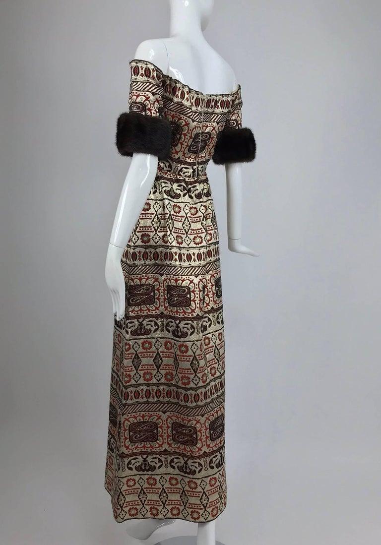 Women's Vitnage Oscar de la Renta metallic brocade and mink trim evening dress 1970s For Sale