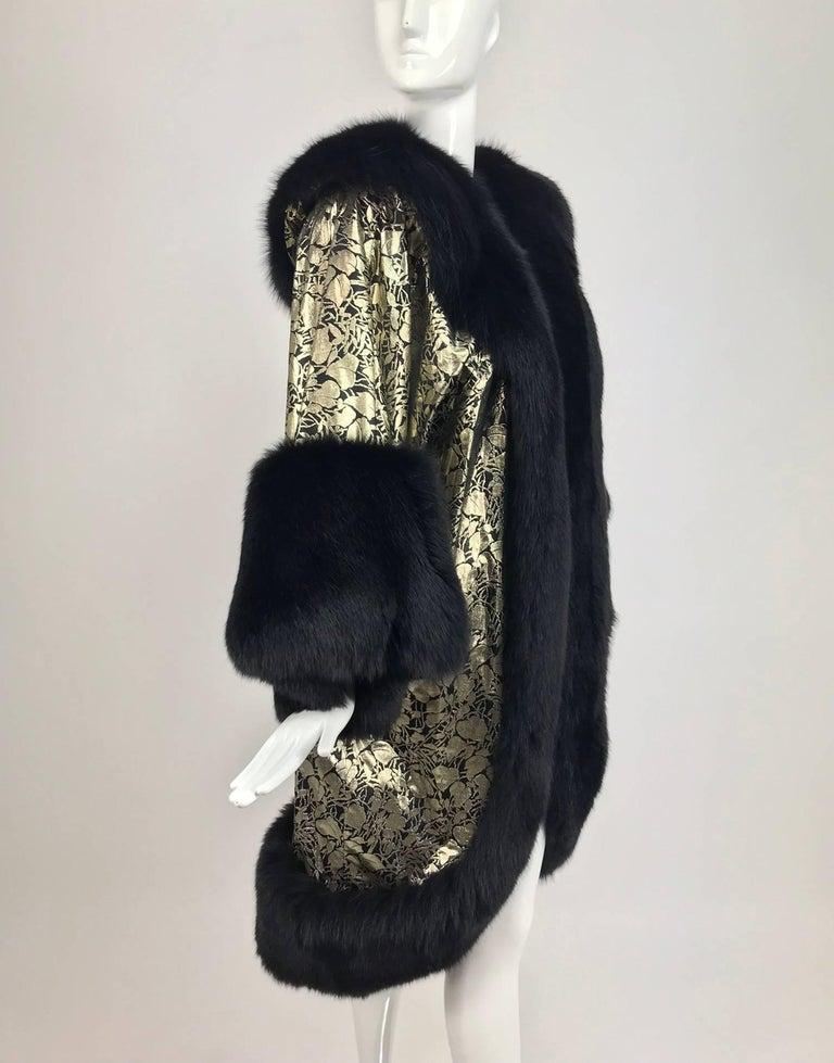 Black Amen Wardy Gold Metallic brocade and black fox fur trim cocoon coat 1980s For Sale