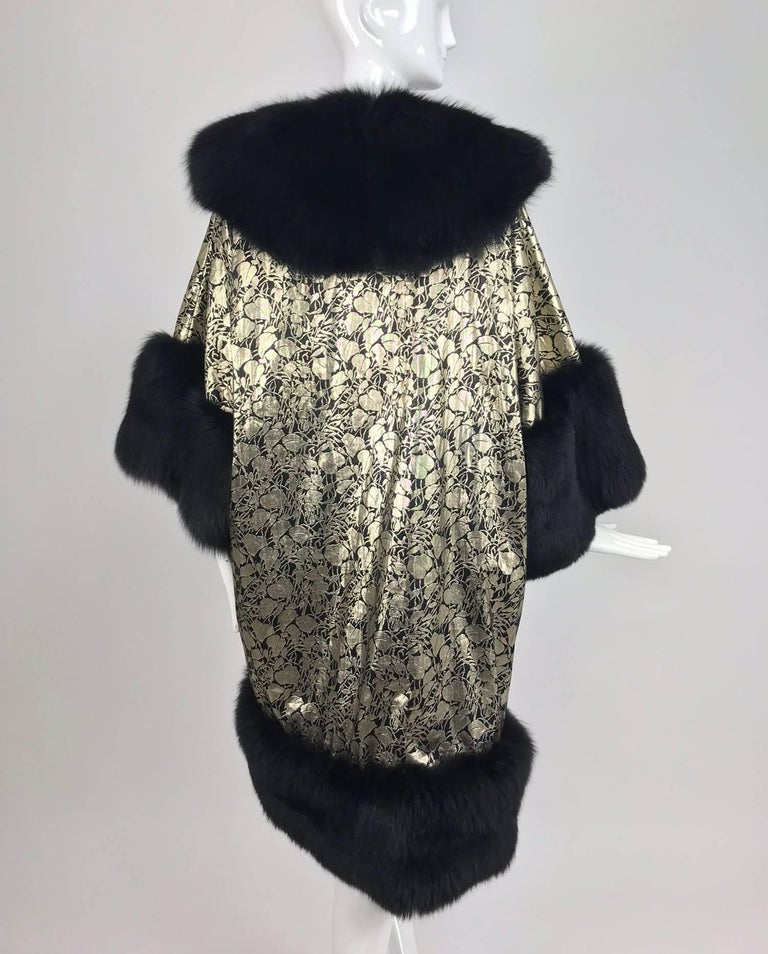 Amen Wardy Gold Metallic brocade and black fox fur trim cocoon coat 1980s In Excellent Condition For Sale In West Palm Beach, FL
