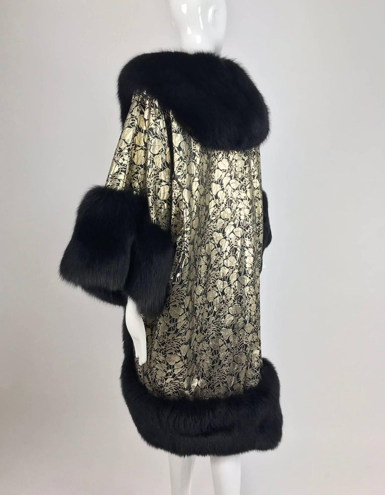Women's Amen Wardy Gold Metallic brocade and black fox fur trim cocoon coat 1980s For Sale