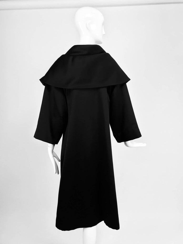 Carol Mignon Boutique Black Portrait collar jewel evening coat 1980s For Sale 1