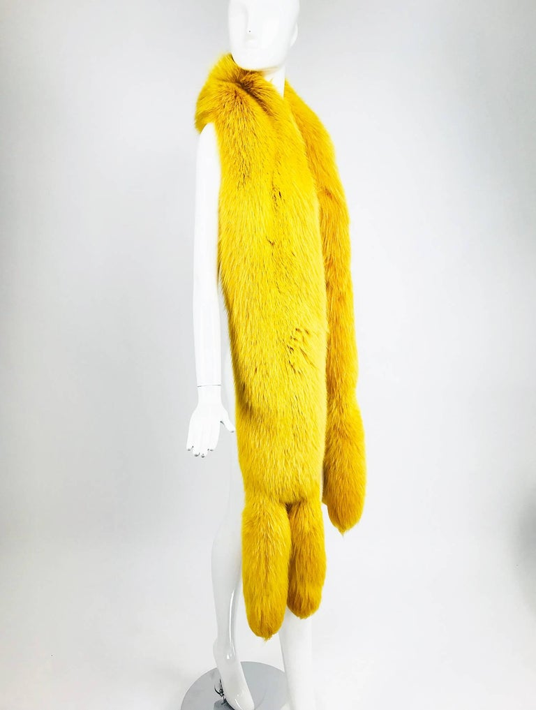 Yellow Saffron yellow fox fur stole with tails 1980s For Sale