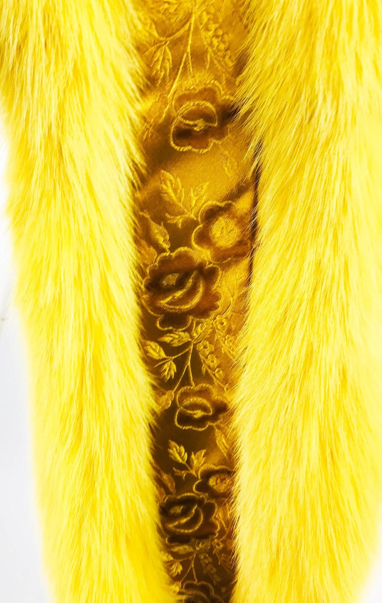Saffron yellow fox fur stole with tails 1980s 5