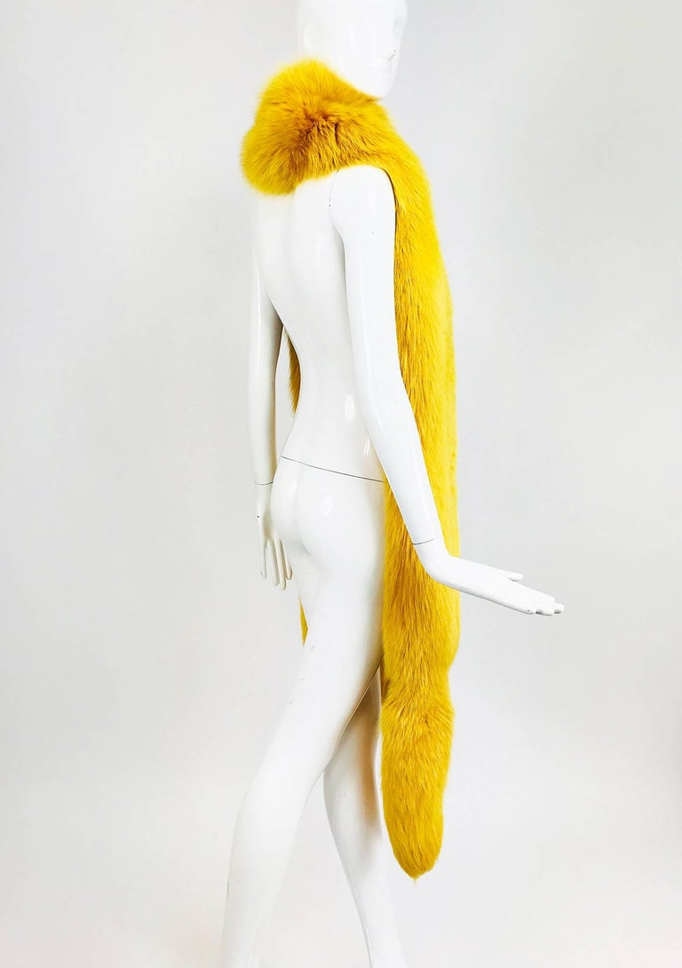 Saffron yellow fox fur stole with tails 1980s 6