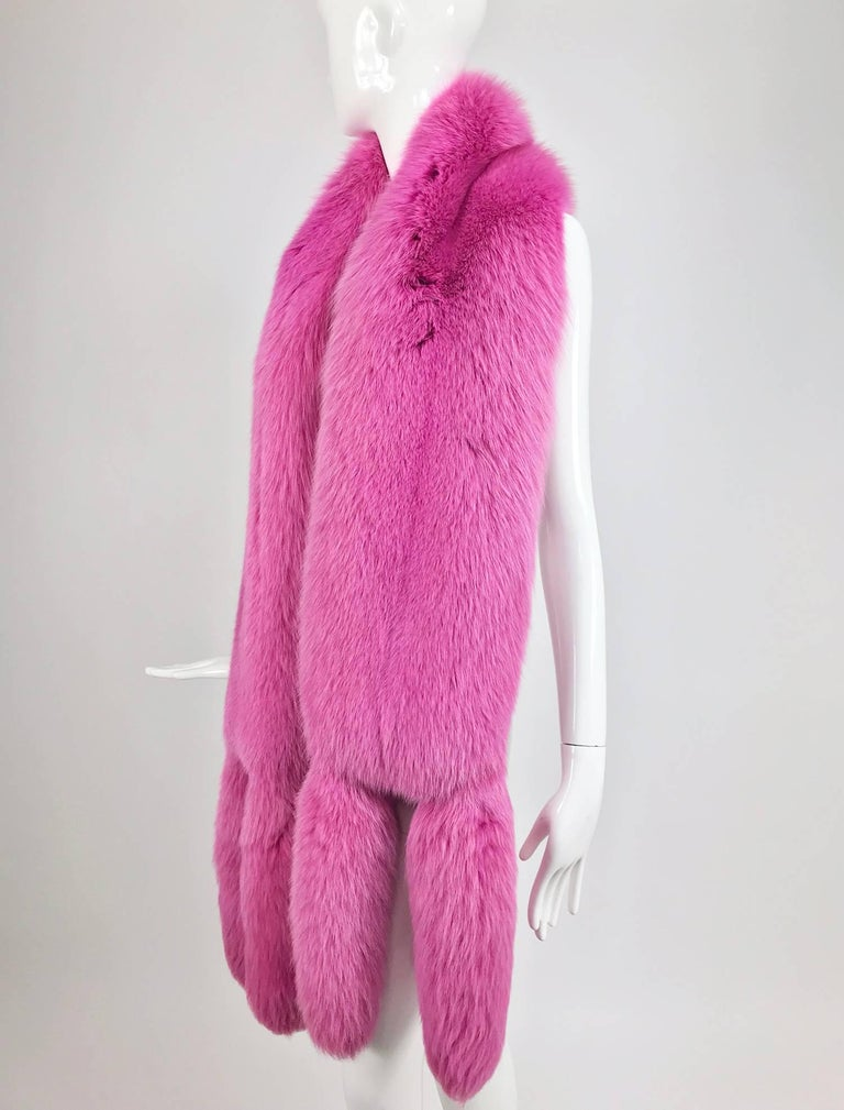 Hot Pink fox fur stole with tails 1980s 2